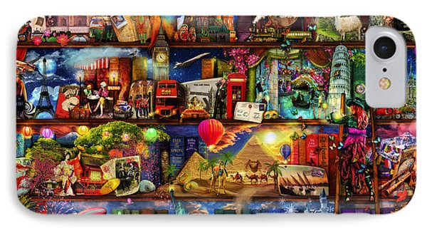 World Travel Book Shelf IPhone Case by Aimee Stewart