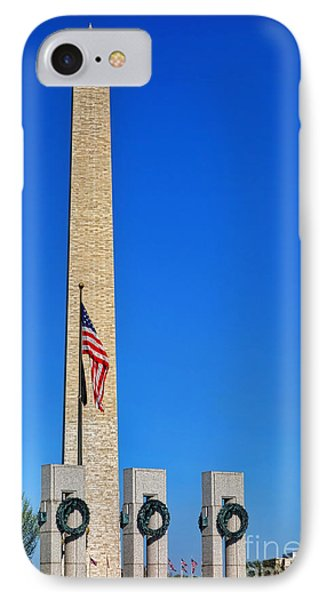 World War II Memorial And Washington Monument IPhone Case by Olivier Le Queinec
