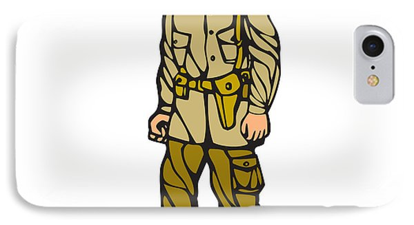 World War Two Soldier Standing Linocut IPhone Case