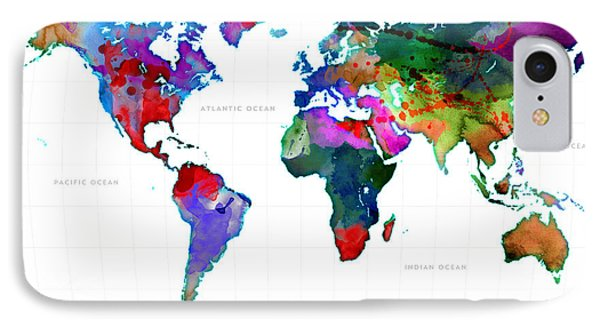 World Watercolor Map #3 IPhone Case