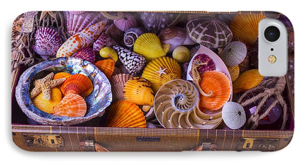 Worn Suitcase Full Of Sea Shells IPhone Case by Garry Gay