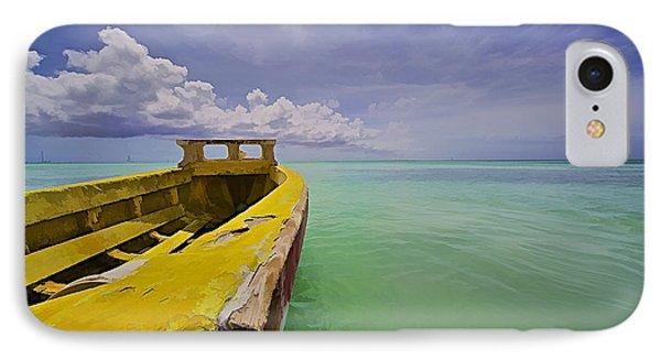Worn Yellow Fishing Boat Of Aruba II IPhone Case