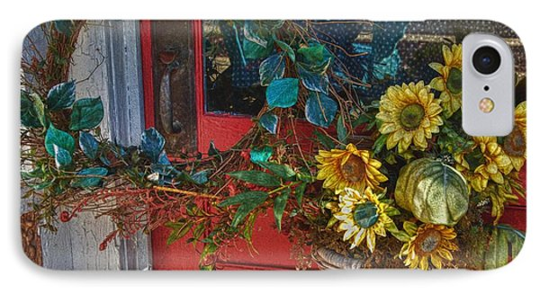 Wreath And The Red Door IPhone Case by Michael Thomas