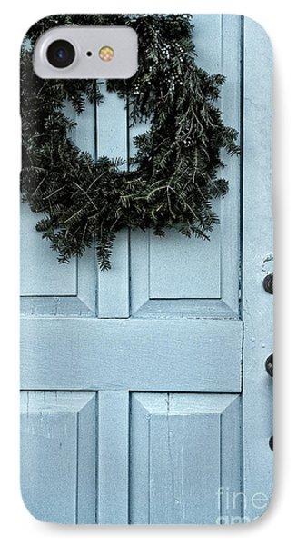 Wreath On Old Blue Door IPhone Case by Birgit Tyrrell