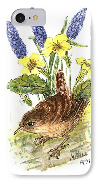Wren In Primroses  IPhone 7 Case by Nell Hill