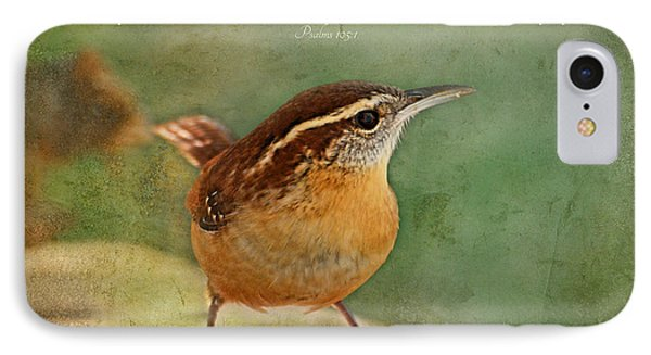 Wren With Verse IPhone Case by Debbie Portwood