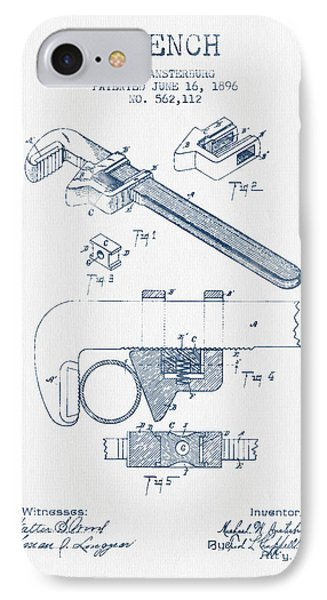 Wrench Patent Drawing From 1896- Blue Ink IPhone Case by Aged Pixel