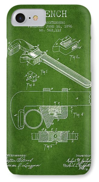 Wrench Patent Drawing From 1896 - Green IPhone Case by Aged Pixel