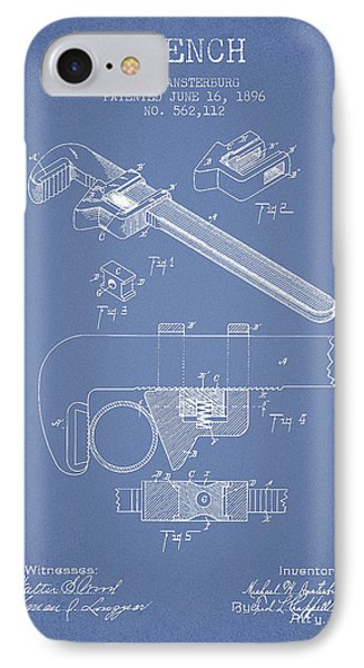 Wrench Patent Drawing From 1896 - Light Blue IPhone Case by Aged Pixel