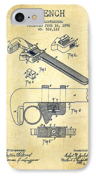 Wrench Patent Drawing From 1896 - Vintage IPhone Case by Aged Pixel