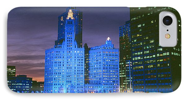 Wrigley Building, Blue Lights, Chicago IPhone Case by Panoramic Images