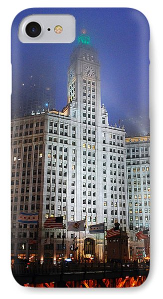 Wrigley Building In Fog IPhone Case by James Kirkikis