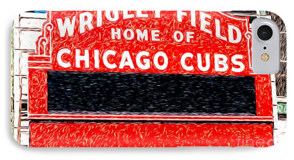 Wrigley Field Chicago Cubs Sign Digital Painting IPhone 7 Case by Paul Velgos