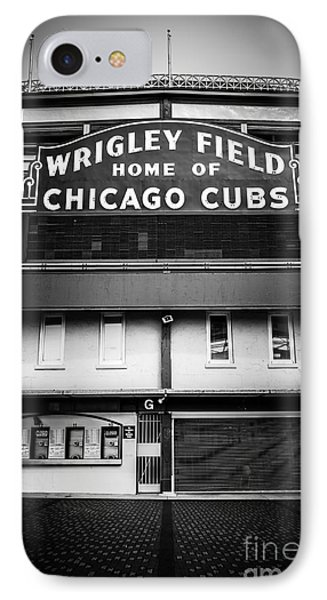 Wrigley Field Chicago Cubs Sign In Black And White IPhone 7 Case by Paul Velgos
