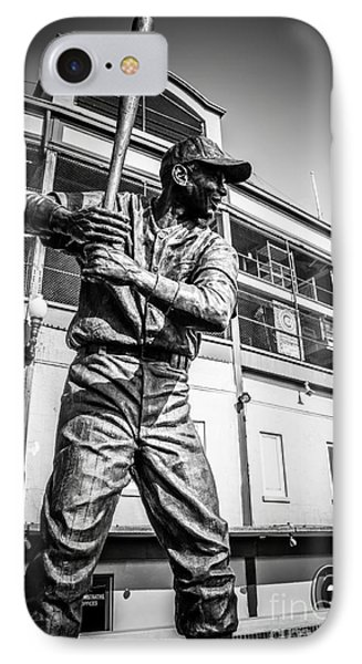 Wrigley Field Ernie Banks Statue In Black And White IPhone 7 Case by Paul Velgos