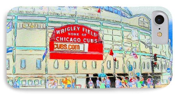 Wrigley Field Sketch IPhone Case by John Farr