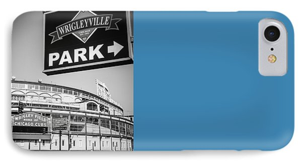 Wrigleyville Sign And Wrigley Field In Black And White IPhone 7 Case by Paul Velgos