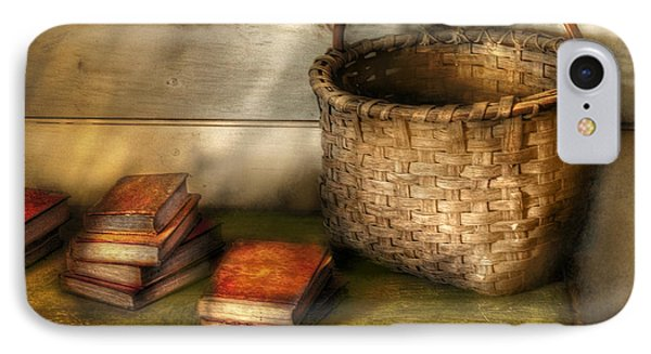 Writer - A Basket And Some Books Phone Case by Mike Savad