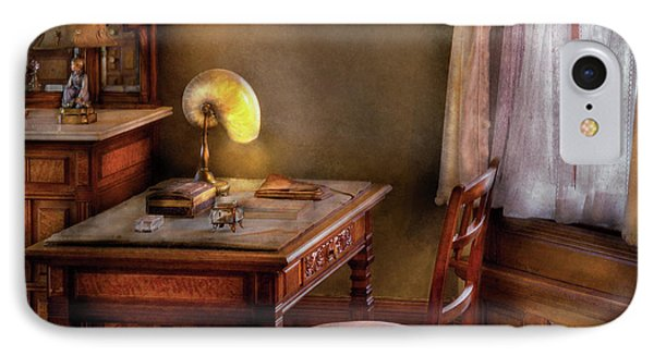 Writer - Desk Of An Inventor Phone Case by Mike Savad