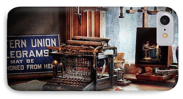 Writer - Typewriter - The Aspiring Writer Phone Case by Mike Savad