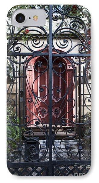 Wrought Iron Gate And Red Door Charleston South Carolina IPhone Case by Jason O Watson