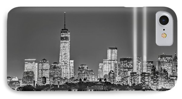 Wtc Tribute In Lights Bw IPhone Case