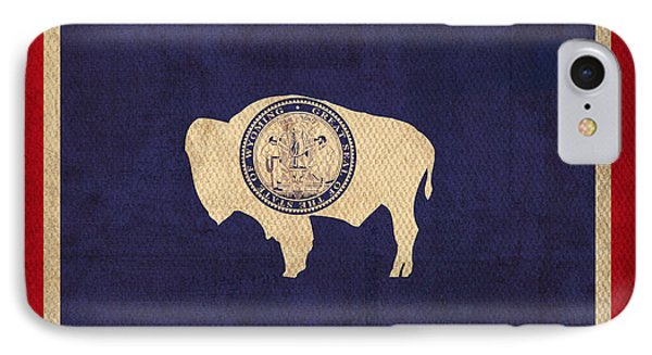 Wyoming State Flag Art On Worn Canvas Phone Case by Design Turnpike