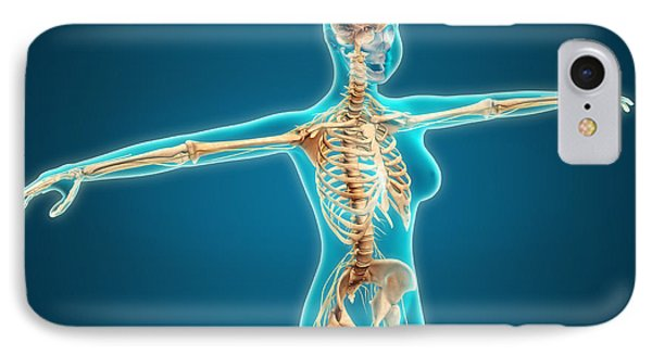 X-ray View Of Female Body Showing Phone Case by Stocktrek Images