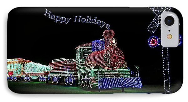 Xmas Tree Train Happy Holidays IPhone Case by Thomas Woolworth
