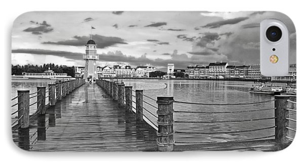 Yacht And Beach Lighthouse In Black And White Walt Disney World IPhone Case by Thomas Woolworth