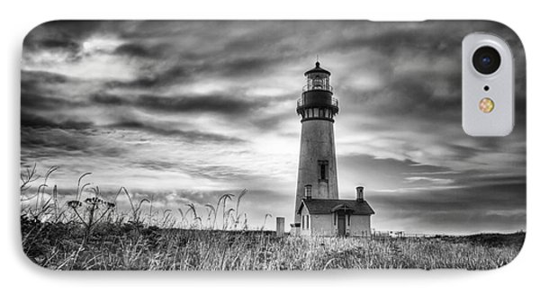 Yaquina Head Lighthouse Black And White IPhone Case by Mark Kiver