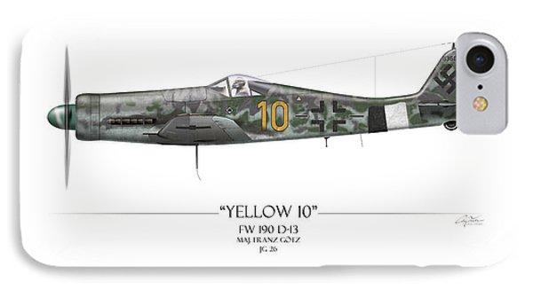 Yellow 10 Focke-wulf Fw190d - White Background Phone Case by Craig Tinder