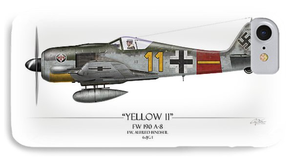 Yellow 11 Focke-wulf Fw 190 - White Background Phone Case by Craig Tinder