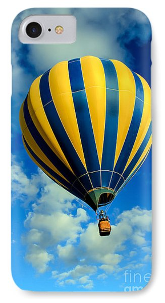 Yellow And Blue Striped Hot Air Balloon IPhone Case by Robert Bales