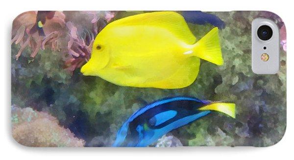 Yellow And Blue Tang Fish Phone Case by Susan Savad
