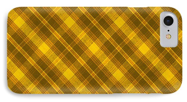 Yellow And Brown Diagonal Plaid Pattern Cloth Background IPhone Case