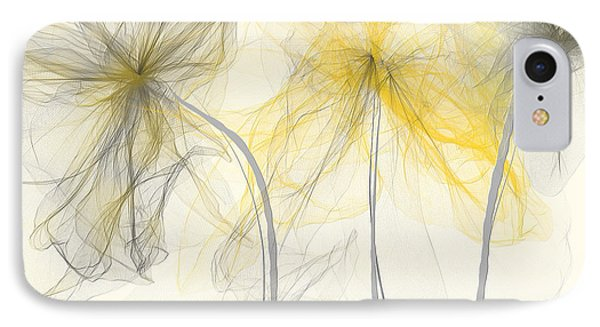 Yellow And Gray Flowers Impressionist IPhone Case