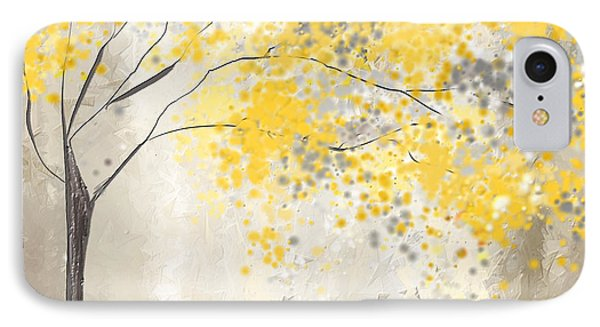Yellow And Gray Tree IPhone Case by Lourry Legarde