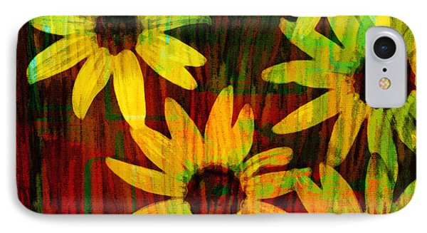 Yellow And Green Daisy Design Phone Case by Ann Powell