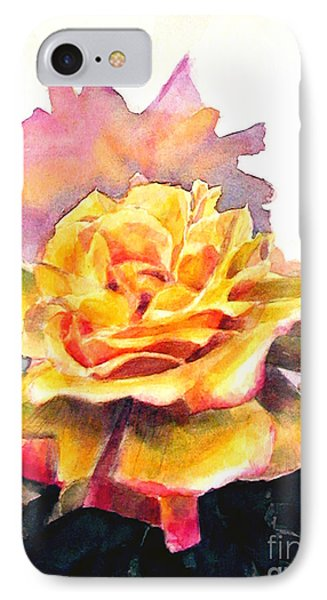 IPhone Case featuring the painting Yellow Rose Fringed In Red by Greta Corens