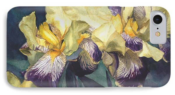 IPhone Case featuring the painting Yellow And Purple Streaked Irises by Greta Corens