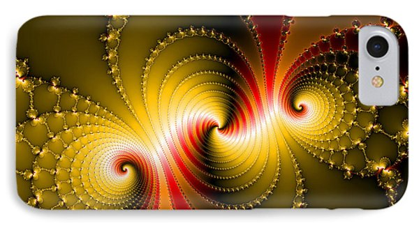Yellow And Red Metal Fractal Art Phone Case by Matthias Hauser