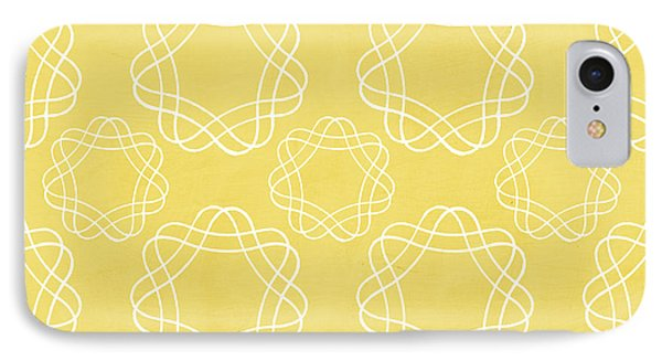 Yellow And White Geometric Floral  IPhone Case