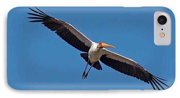 Yellow-billed Stork In Flight IPhone Case by Tony Camacho
