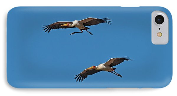Yellow-billed Storks In Flight IPhone Case by Tony Camacho