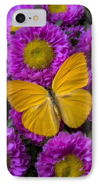Yellow Butterfly And Pink Flowers Phone Case by Garry Gay