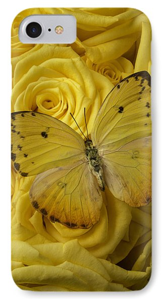 Yellow Butterfly On Yellow Roses IPhone Case