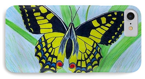 Yellow Butterfly Phone Case by Peggy Miller