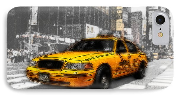 Yellow Cab At The Times Square -comic Phone Case by Hannes Cmarits