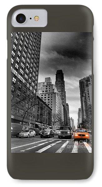 Yellow Cab One - New York City Street Scene IPhone Case by Miriam Danar